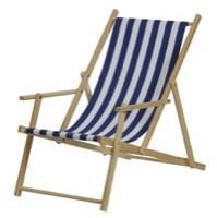 Strandstol, blå/hvit stoff